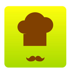 chef hat and moustache sign brown icon at vector image