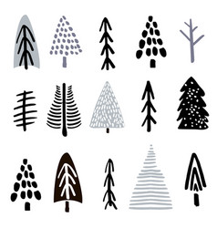 collection christmas trees made with ink creative vector image