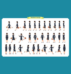 Collection set of walking business woman vector