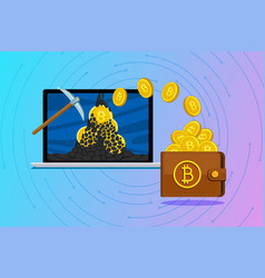 concept cryptocurrency mining bitcoins and vector image