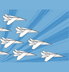 Concept team work white paper airplanes vector