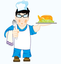 Cook with meal vector