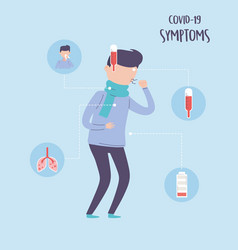 Covid 19 pandemic infographic symptoms fever vector