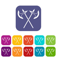 crossed battle axes icons set vector image