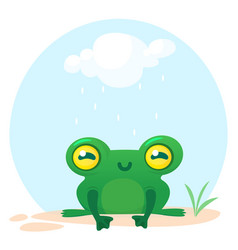Cute frog cartoon character vector