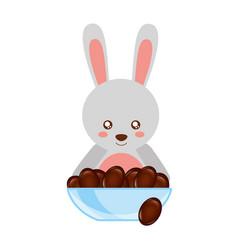 Cute rabbit with bowl chocolate sweet bonbon vector