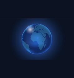 dark blue background digital dotted globe vector image