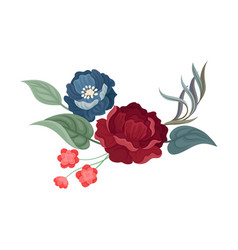 Dark red rose and large blue flower vector