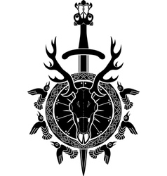 Deer skull sword and shield North Viking vector image