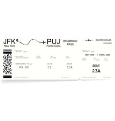 Detailed realistic airline boarding pass vector