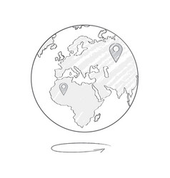 Earth icon sketch with marks trip destinations vector