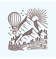 Explore more with hot air balloon line vector