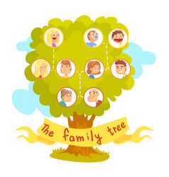 Family tree with portraits of relatives vector