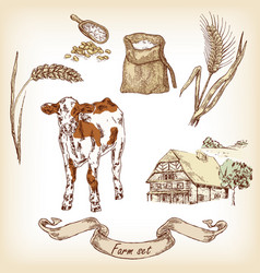 Farm set sketch vector