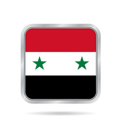 Flag of syria shiny metallic gray square button vector