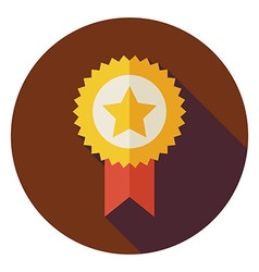 Flat Award Gold Medal Circle Icon with Long Shadow vector image