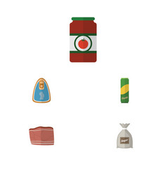 flat icon food set of sack ketchup beef and vector image
