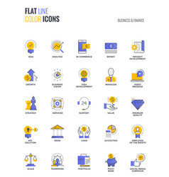 Flat line multicolor icons design-business and vector