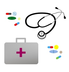 flat stethoscope first aid kit and vector image