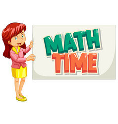 Font design for word math time with teacher vector