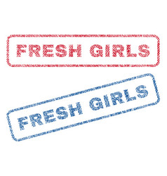 Fresh girls textile stamps vector