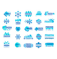 frozen product logo snow and winter snowflakes vector image
