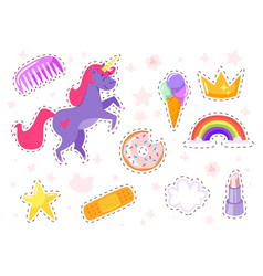 funny fashion stickers kit vector image