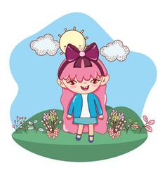 girl outdoors cartoon vector image