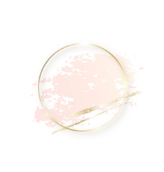 Gold circle frame with pastel nude pink texture vector