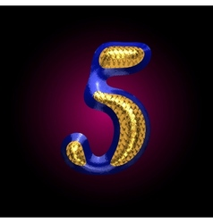 golden and blue letter 5 vector image