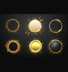 golden frames with confetti glaring and shining vector image