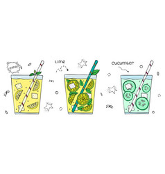 hand drawn set superfoods lemonades with ice vector image