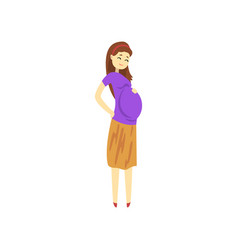 happy pregnant woman cartoon vector image
