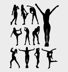 Happy sport people silhouette vector
