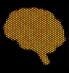 hexagon halftone brain icon vector image