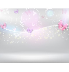 Horizontal background with color butterflies vector