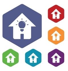House light icon hexagon set vector