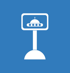 icon flying saucer on monitor vector image