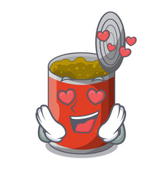 In love canned food on the table cartoon vector
