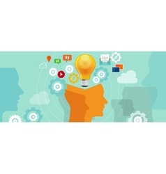 Information iverload data idea gear head lamp bulb vector