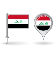 Iraqi pin icon and map pointer flag vector image