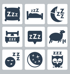Isolated sleep concept icons set pillow bed moon vector