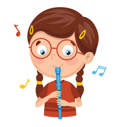 Kid playing flute vector