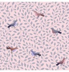 leaves pattern bird vector image