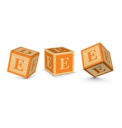Letter E wooden alphabet blocks vector