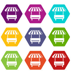 local stall icons set 9 vector image