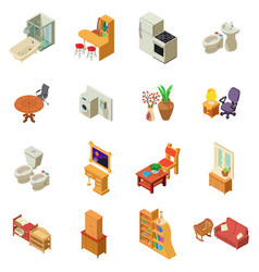 Lodging icons set isometric style vector