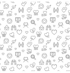 love concept seamless outline pattern vector image