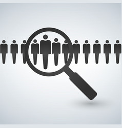 magnifying glass seeking people job search and vector image