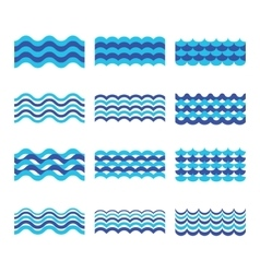 Marine sea ocean waves set vector